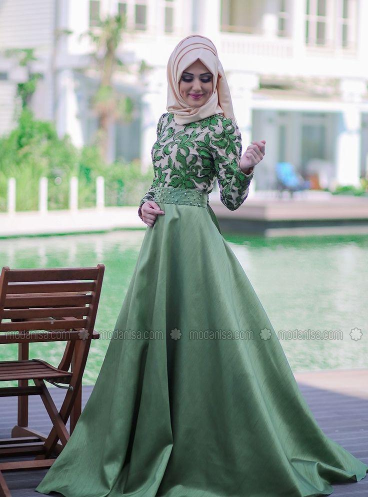 Silvia tesettür giyim yeşil abiye elbise modelleri minel aşk Enmodelleri