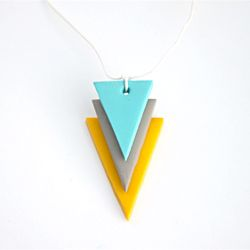 DIY geometric necklace pendant using polymer clay!