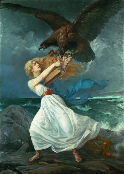 Hyökkäys (The Attack) - Edvard Isto 1899 Finnish 1865-1905 The painting symbolizes Finnish resistance to Russification. The two-headed eagle of Russia is tearing away the law book from the Finnish Maiden's arms. Museiverket, Finland