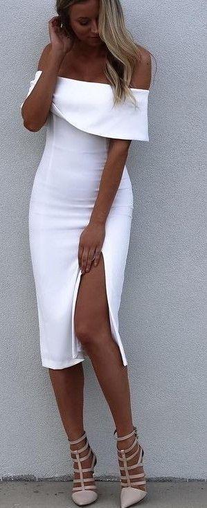 #summer #fblogger #outfits | White Off The Shoulder Leg Split Dress                                                                             Source