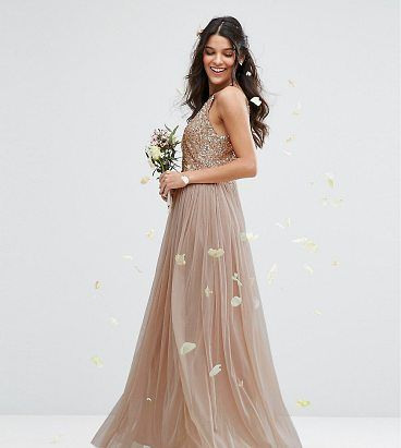 """High Neck Maxi Tulle Dress With Tonal Delicate Sequins by Maya. """"""""Evening dress by Maya Petite's, Sequin embellished bodice, High halter neck, Lined tulle skirt, Softly-pleated design, Regular fit - true to size, Hand wash, 100% Polyester, Our model wears a UK 8/EU 36/US 4 and is 173cm/5'8"""" tall, Tak... #maya #dresses #gowns"""