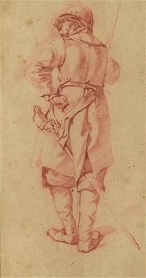 Бега Корнелис Питерс (Bega, Begga, 1620-1664) - Солдат, повернувшийся спиной (1661, Частная коллекция. Attributed to Cornelis Bega)