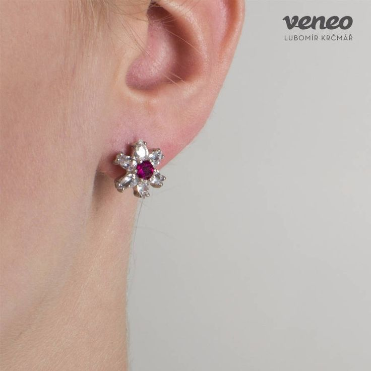 Orchidea. Stunning Floral Handmade Gold or Sterling Silver Ruby and Zircon Earrings. Earrings for women. Wonderful gift for her. by Veneo on Etsy
