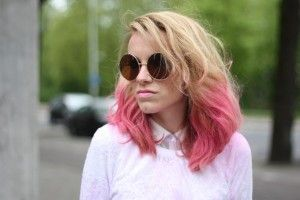 No bleach, just Directions Flamingo Pink   to ends diluted with a little conditioner