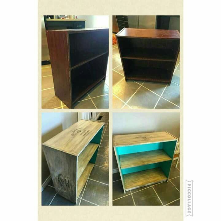 Bookcase makeover using chalk paint and waxed paper transfer