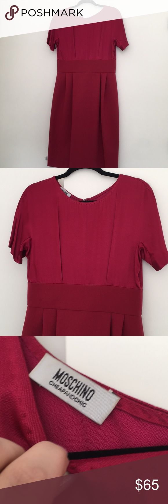 Brand new Moschino silk shift dress size 8 Brand new. Flawless. Clean Silk blouse attached to wool skirt (not itchy) Gorgeous color ruby Moschino Dresses Midi