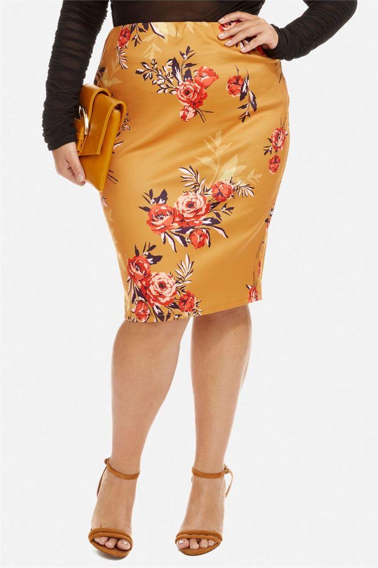 Tessa Mustard Floral Pencil Skirt   Mid Skirts   fullbeauty