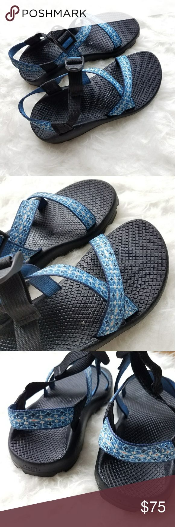 Chacos sandals, women's size 7. Blue Excellent used condition women's chacos. Worn maybe 5 times. Blue straps with a tiny bit of coral on them as well. No low ball offers, price is firm. Chaco Shoes Sandals