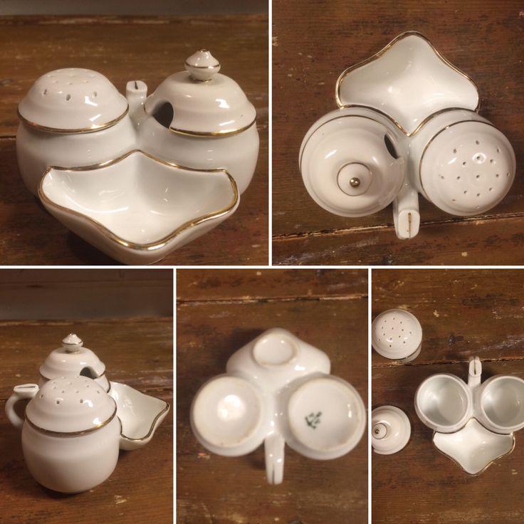 Gamler Porsgrunn sett i porselen salt/pepper/sennep.