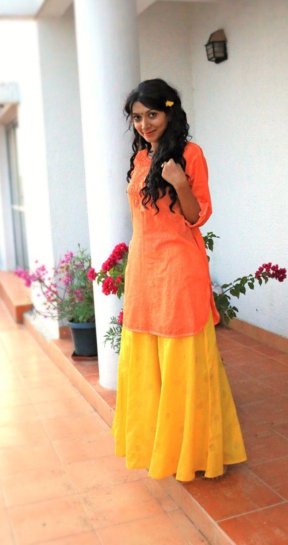 Krishna Janmashtami Outfit - Yellow Palazzos with Orange Kurti. Indian Fashion Blogger