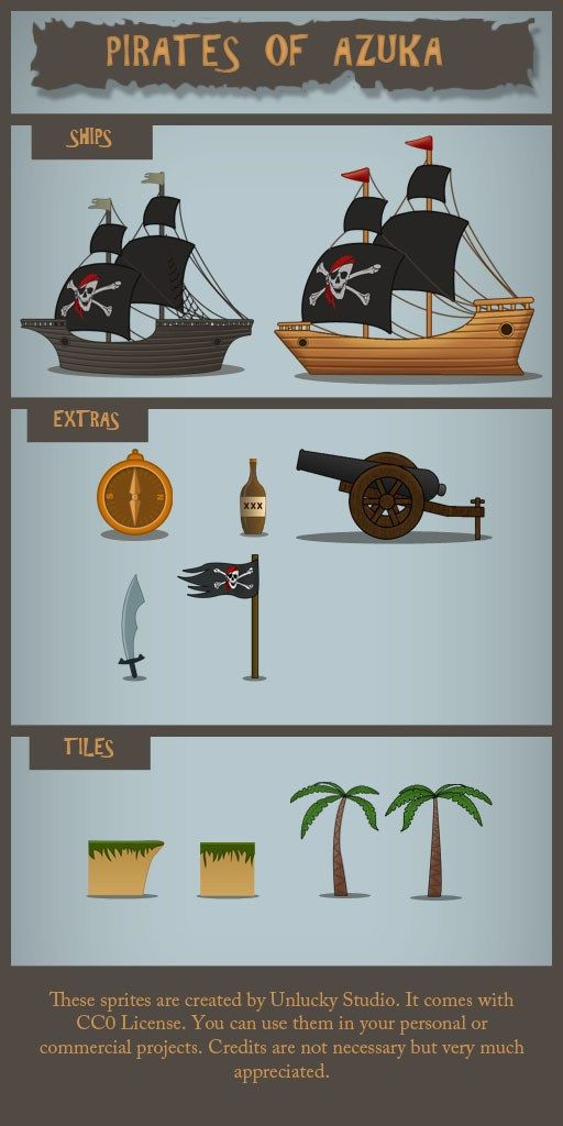 Hi Guys I am Sujit Yadav and I create an share free game assets on my website every month. This time I am sharing a pirate game assets pack with you. This sprite pack includes: 1. Three differnet types of ships 2. Compass