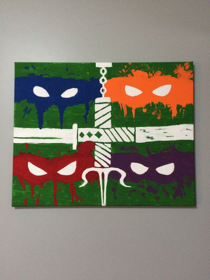 Ninja Turtles acrylic painting on canvas by RusticPlayhouse on Etsy https://www.etsy.com/listing/258073274/ninja-turtles-acrylic-painting-on-canvas