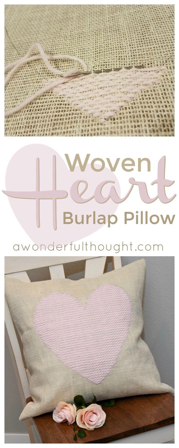 DIY Woven Heart Burlap Pillow | awonderfulthought.com