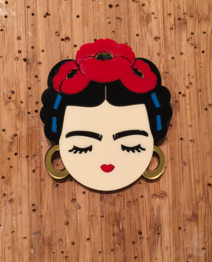 Valley of the Dolls: FRIDA layered acrylic brooch (45.12 USD) by Baccurelli