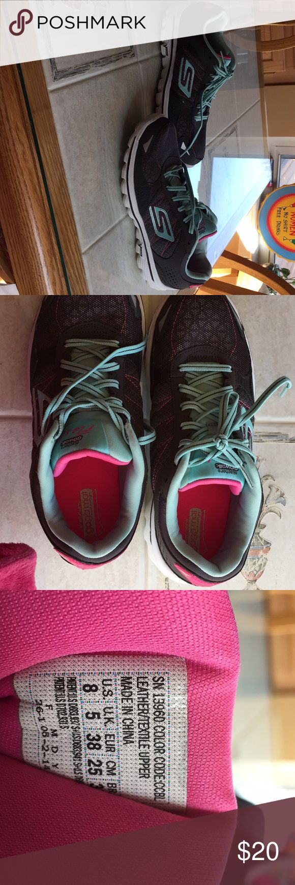 Sketchers sneakers!! Women's Skechers  Gogo mat sneakers. Size 8. Only worn once. Excellent used condition. Gray with bluish green trim and laces. skechers Shoes Sneakers