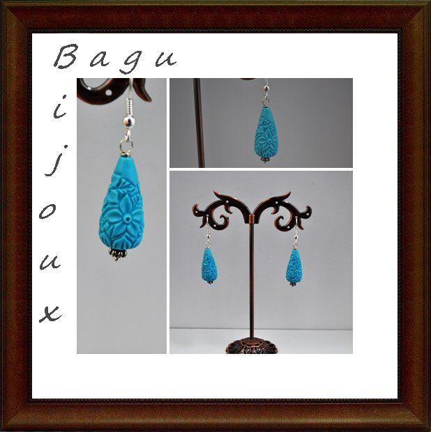 Orecchini resina lavorata a goccia, by Bagu Bijoux, 1,00 € su misshobby.com