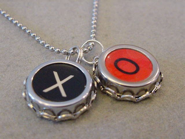Typewriter Key Necklace X O Hugs and Kisses Letters X O Rare RED O Typewriter key pendant necklace Great Gift by magiccloset on Etsy