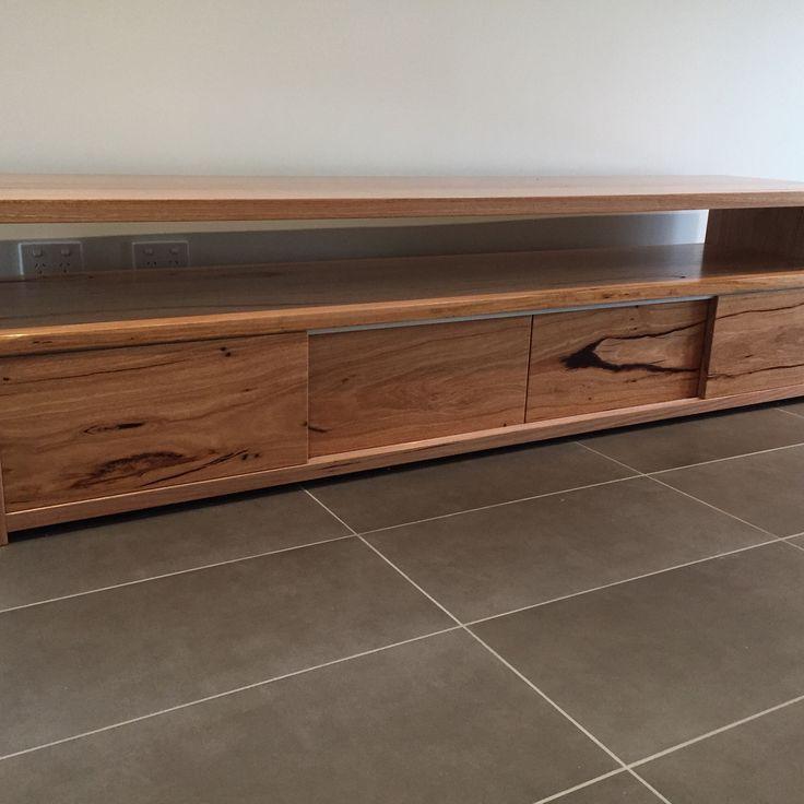 Wormy chestnut timber TV unit