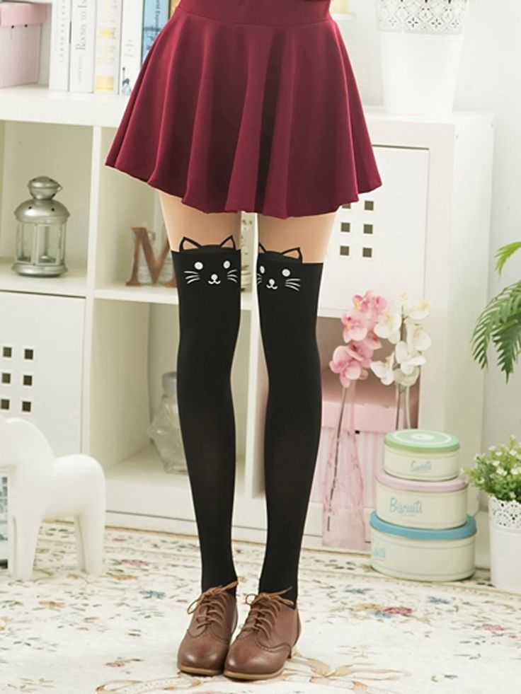 Color Block Cute Cat Suspender Tights | Choies