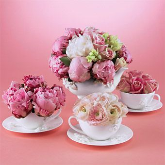 teapot flower arrangements | Ideas for At-Home Floral Arrangements : Wedding Flowers Gallery