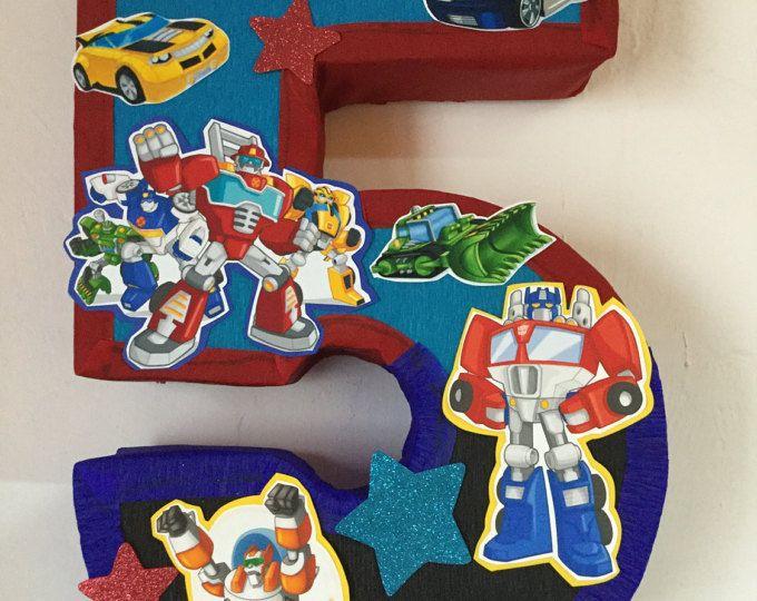 Piñata de transformers , auto bots fiesta, numero 5 rescue bots