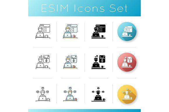 Distant Workers Icons Set Icon Set Icon Creative Design