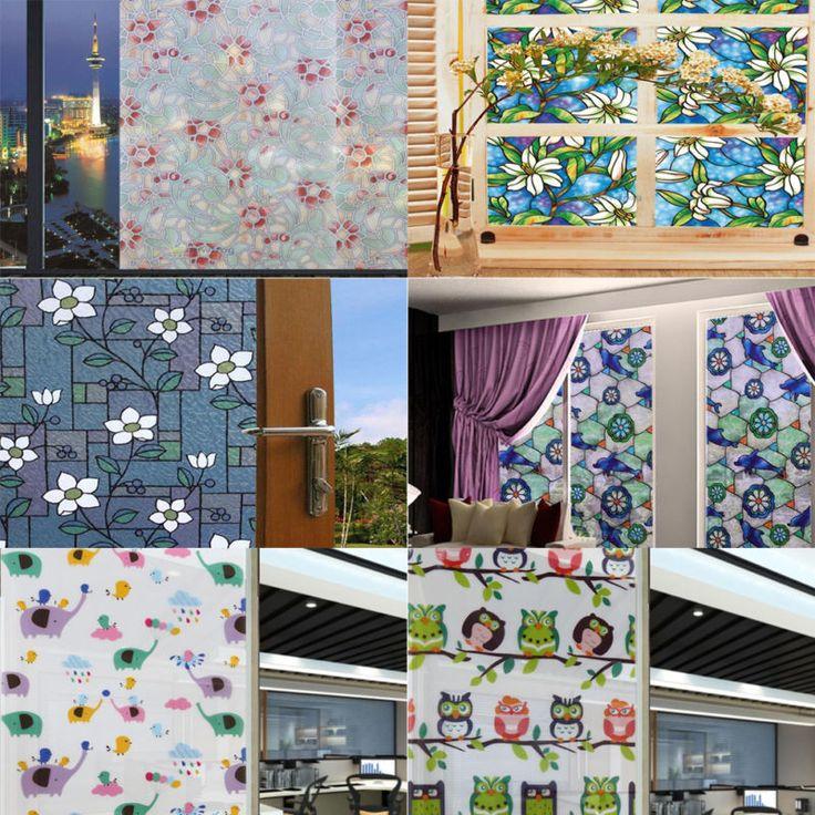 Capa de aderência estática manchado Flor Window Film Vidro Privacidade Home Decor 45*100cm