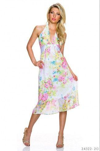 Σιφόν φλοράλ μίντι φόρεμα - Πράσινο Πολύχρωμο