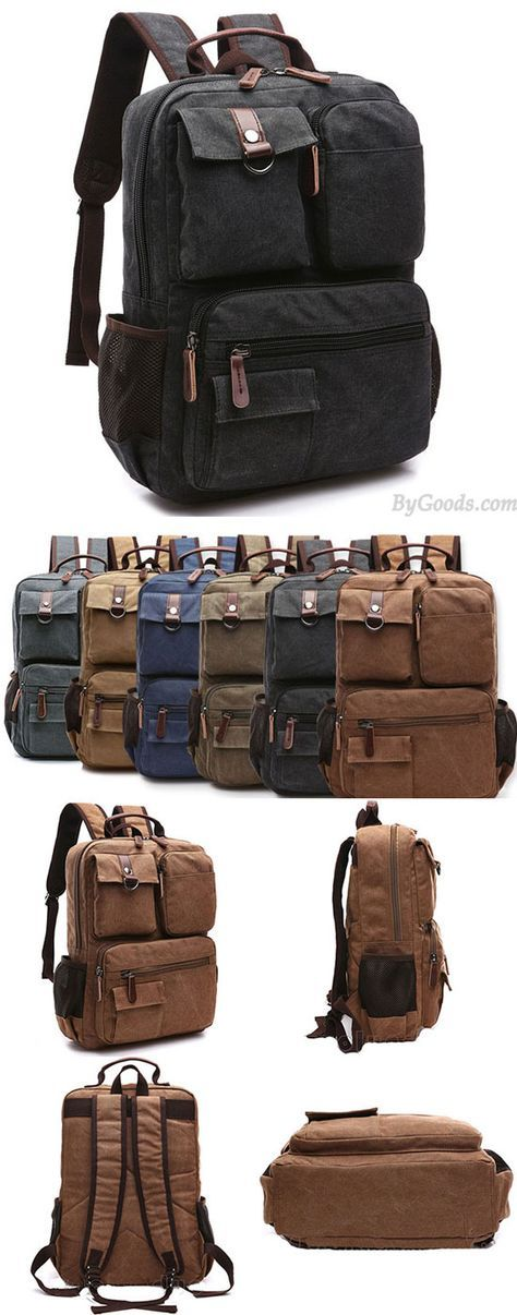 Vintage Brown Large Capacity Multi-pocketed Outdoor Travel Backpack