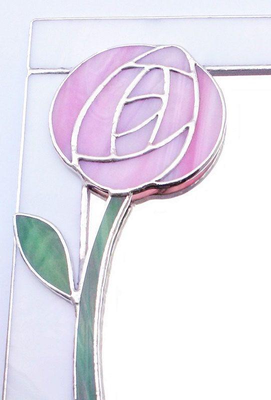"""Miroir mural Art Nouveau 10×8 """"avec rose Glasgow Rose. Vitraux décoratifs de style Mackintosh écossais pour fiançailles d'anniversaire de mariage   – καθρεπτες"""