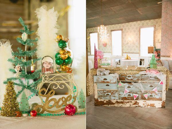 kitschy vintage Christmas wedding