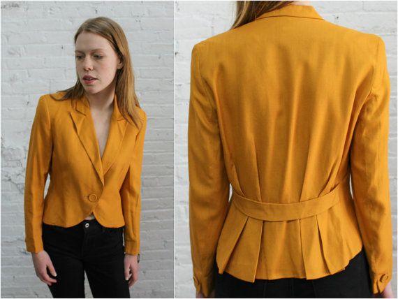 vintage de 1980 Christian Dior -chaqueta de lino -Rico algodón de lino estilo amarillo mostaza -forma integral dan un peplum o espina de