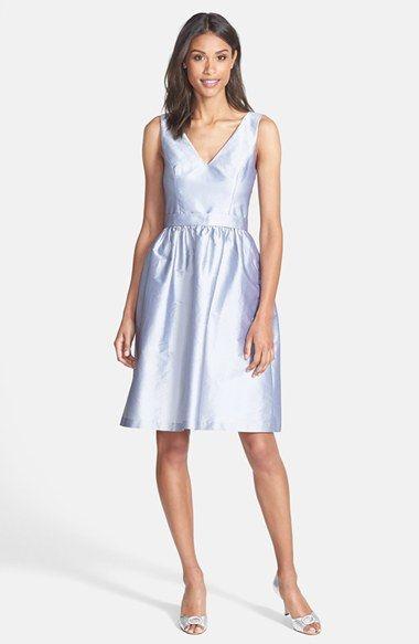 So Elegant Alfred Sung V Neck Peau De Soie Cocktail Dress