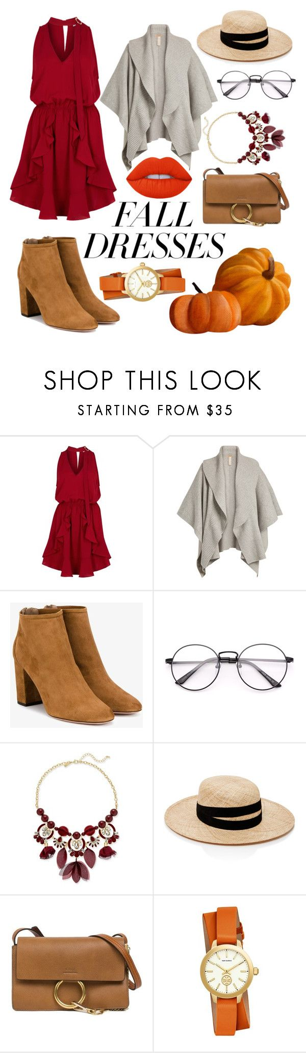 """""""Fall Dresses"""" by crazy-otaku ❤ liked on Polyvore featuring Finders Keepers, Burberry, Aquazzura, INC International Concepts, Janessa Leone, Chloé, Tory Burch and Lime Crime"""