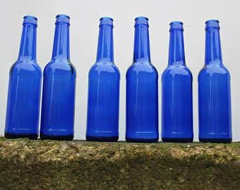 Botellas de vidrio azul de cobalto, 6 botellas azules, botellas de cerveza, botellas viejas, Mostrar