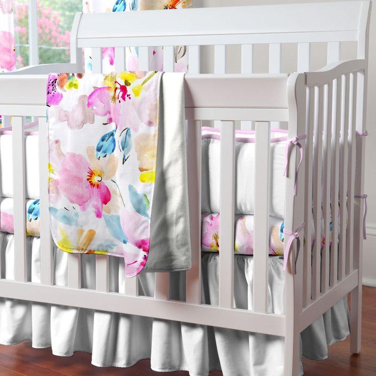 Watercolor Floral Mini Crib Bedding | Carousel Designs