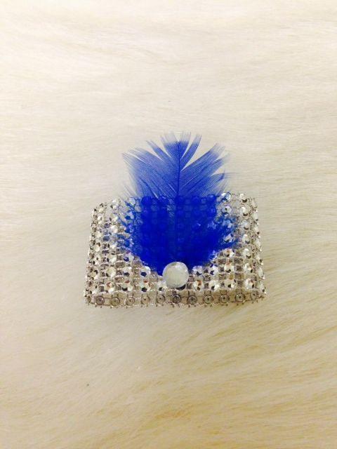 Silver Bling rhinestone mesh + blue feather napkin ring