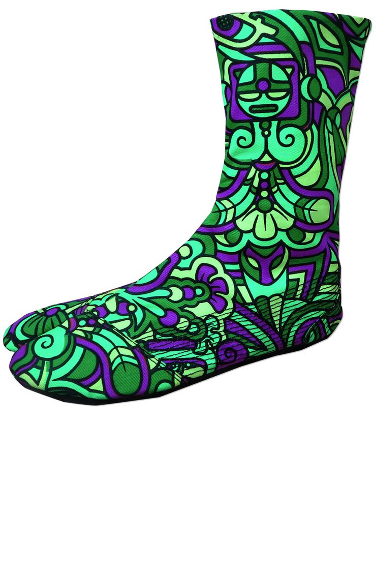 Ninja Boot : Lime Mayan Walk like a Ninja with these split toed cotton booties, based on traditional Japanese Jigatabe design. Perfect for dancing, circus and performing. Flat, grippy sole with split toe, made from latex. Upper made from Space Tribe UV active cotton twill. Black cotton lining. Mid-calf length. Velcro side closing. Over-stitching details. Stash pocket in 1 boot. UV Active ! Artwork by Adi