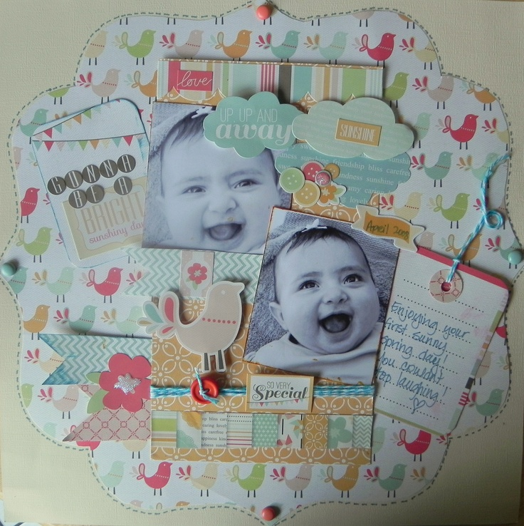 Gonna Be A Bright Sunshiney Day - Scrapbook.com: Scrapbook Ideas, Scrapbooking Baby, Baby Scrapbooks, Scrapbook Layouts, Scrapbook Photos, Baby Kids Scrapbook, Bright Sunshiney