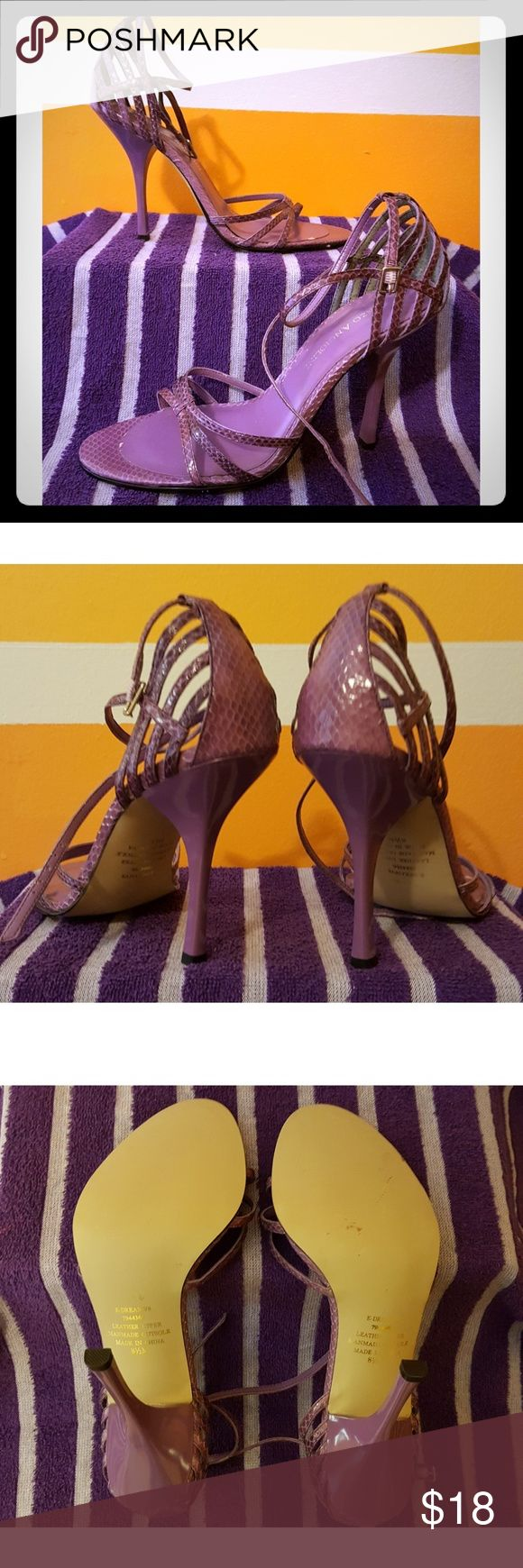 Purple Strappy High Heel Sandals - Enzo Angiolini Beautiful purple strappy high heel dressy shoes, worn 1x indoors, soles have never seen pavement! 8.5m Enzo Angiolini Shoes Heels