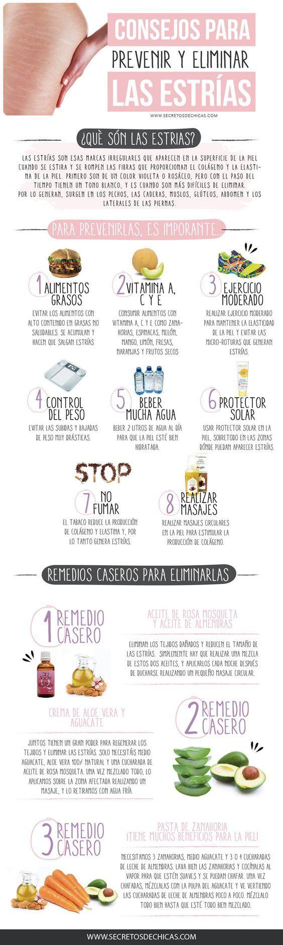 Consejos para prevenir y eliminar las estrias: