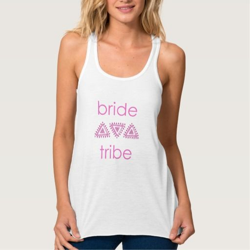 Pink Bride Tribe Adorable wedding party design Flowy Racerback Tank Top