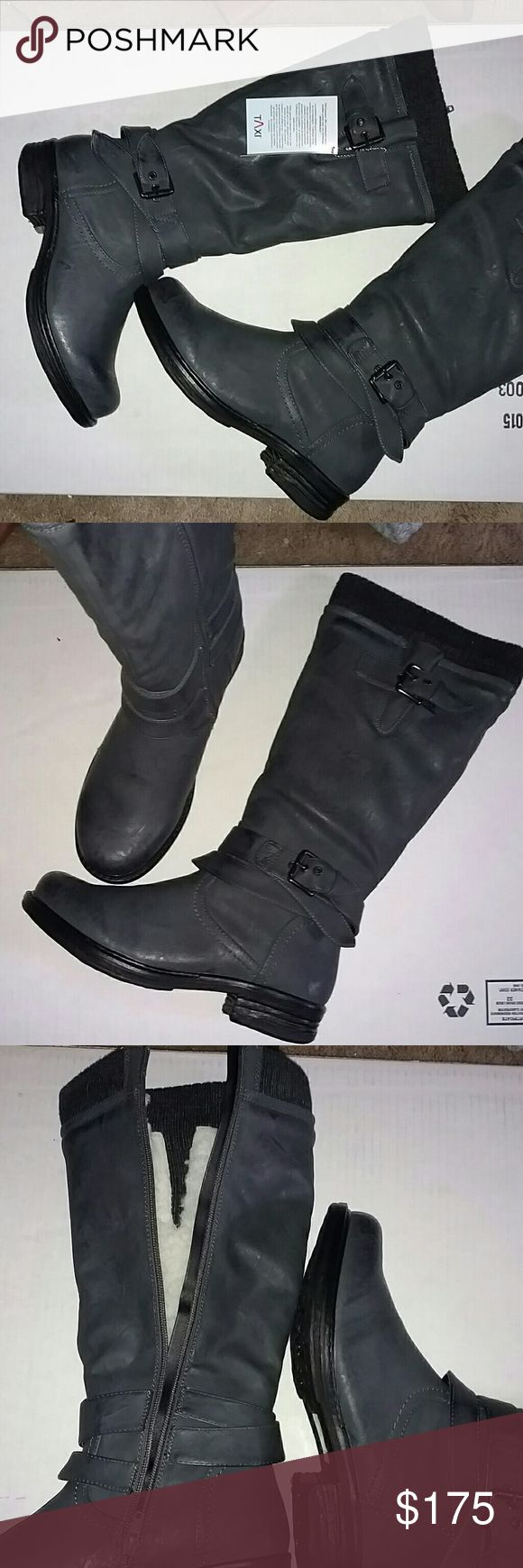NIB TALL GRAY LEATHER FLEECE LINED BOOTS from TAXI THESE ARE AMAZING !! WATERPROOF LEATHER Outside Snow & Rain will never get inside !! See pic :) Buckle Details AMAZING Gray Color These are not wide calf, not a lot of Stretch ( Will measure for you ) Rounded Toe ~~I would keep but purchased from fellow Posher ankle DARKER gray boots I wanted~~ But ...... Will keep for next season if not sold :)  Fleece Lined for Xtra Warm Feet !!  Purchased @ work during a Boot Sale so not a lot of wiggle…