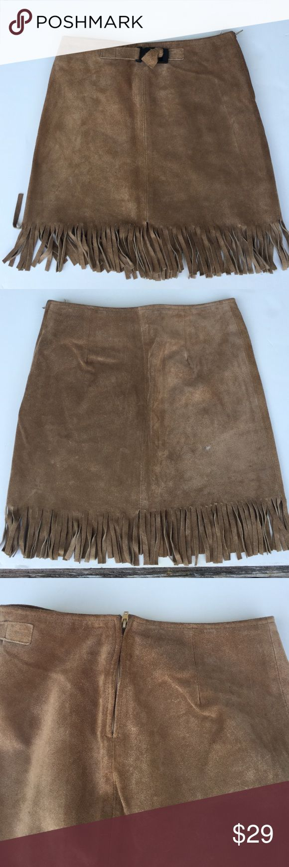 Suede Fringe Kids Mini Skirt Use but still in great condition, only one minor spot shown in picture it can probably be clean. Fully lined. United Colors Of Benetton Skirts Mini