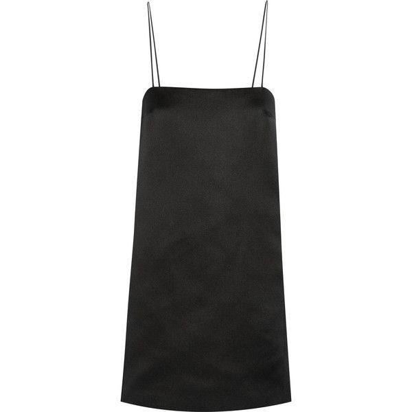 The Row Aneme silk-satin mini dress found on Polyvore featuring dresses, short dress, black, mini shift dress, slip dress, slim fit dress, mini dress and slimming dresses