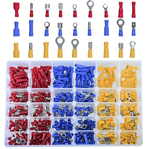 DEDC Kit de 480 Terminales Eléctricos Aislados Surtidos de Presión Kit de Materiales con Caja Plástica para Cableado Eléctrico Cable Conector A Tope Acople Eléctricos %FULLTEXT https://images-eu.ssl-images-amazon.com/images/I/61E8-5cuCzL.jpg