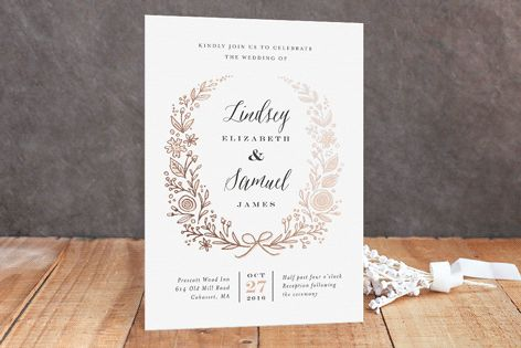 Painted Wreath Foil-Pressed Wedding Invitations by Jennifer Wick at minted.com