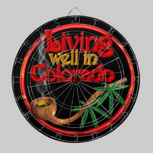 Living well in Colorado by Valxart Dart Board.  Valxart has same design for many states so comment with your state and we will post its design  See more cannabis/marijuana art by Valxart.com at http://zazzle.com/valxartmedicalpot*