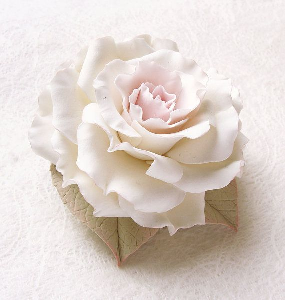 Polymer clay jewelry Large white rose brooch by SilverSeagullArt, $53.00