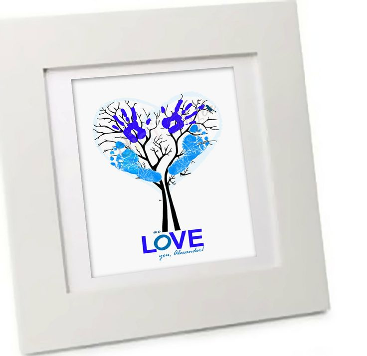 Children Decor- Personalized Children DIY Family Tree Art- Custom Fingerprint or Handprint- unique Father son gift- blue personalized dad. $16.50, via Etsy.